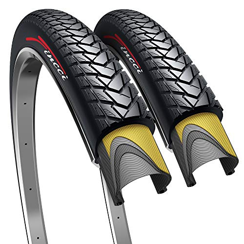 Fincci Pair 700 x 35c 37-622 Foldable 60 TPI City Commuter Tires with Nylon Protection for Cycle Road Mountain MTB Hybrid Touring Electric Bike Bicycle - Pack of 2