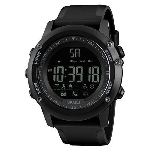 Skmei Men 's Sport Casual Water Resistente Smart Watch Reloj Inteligente Deporte Aleatorio de Hombre 5ATM Impermeable cámara/Tracking/Despertador/Blutooth Negro