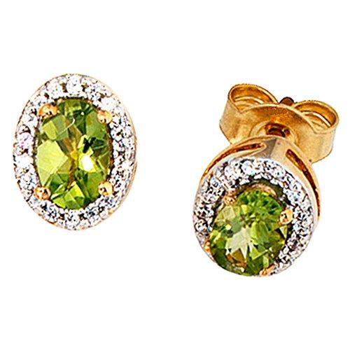 JOBO Damen-Ohrstecker aus 585 Gold mit Peridot Oval und 36 Diamanten