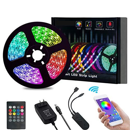 Haiqing Luz LED con 5050RGB Música Controlador Bluetooth 150 Luces Impermeable Dual-Panel de Alto Brillo Light Barra de luz 5M Dot (20IR + Tipo U Bluetooth + Fuente de alimentación Normal)