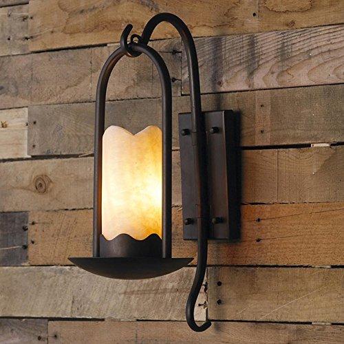 ZZYJYALG American Country lámpara de pared de hierro forjado Vintage Retro luz de pared de fondo Simple y creativa escalera de pastoral nórdica de pared aplique de pared Antique hierro de mármol sala