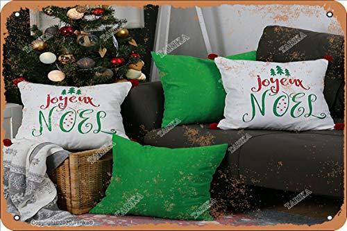 Frohe Weihnachten Ecksofa Dekoration Illustration Zinn Vintage Look 20,3 x 30,5 cm Dekoration Kunst Schild für Zuhause Küche Bad Bauernhof Garten Garage inspirierende Zitate Wanddekoration
