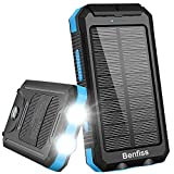 Solar Charger, Benfiss 20000mAh Solar Power Bank with 2 Led Light and Dual USB 5V 1A/2A Output, Waterproof Portable External Backup Battery for Camping, Outdoors, Emergency(Black with Blue)