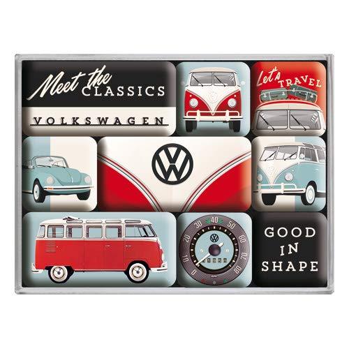 Nostalgic-Art 83107 - Volkswagen - VW Bulli & Beetle - Meet The Classics , Retro Magnet-Set (9teilig) , Kühlschrank-Magnete , Vintage von Nostalgic-Art