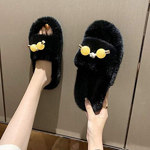 Cotton Slippers Slippers Women Shoes Woman Slippers Flat Warm Cotton Winter Slippers Slides 10 5-Black