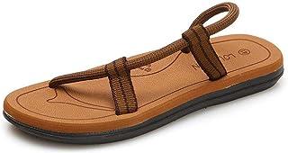 Summer Beach Slippers Men Flip Flops Outdoor Sandals Summer Breathable Beach Shoes (Color : Khaki, Size : 44)