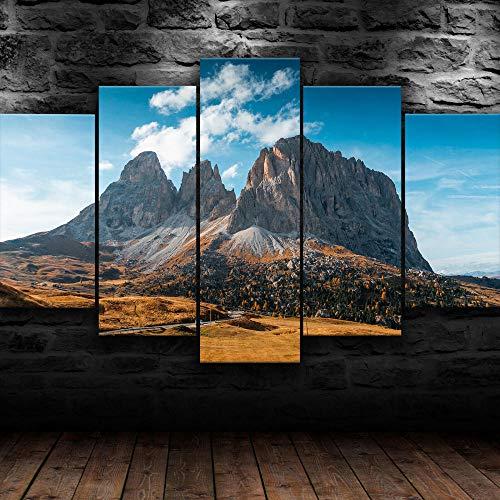 KOPASD 5 Piezas Lienzo Grandes murales 5 Partes Impresión Artística Imagen Montañas Italia Paisaje Moderno Sala Decorativos para el hogar-Sin Marco-150 * 80cm