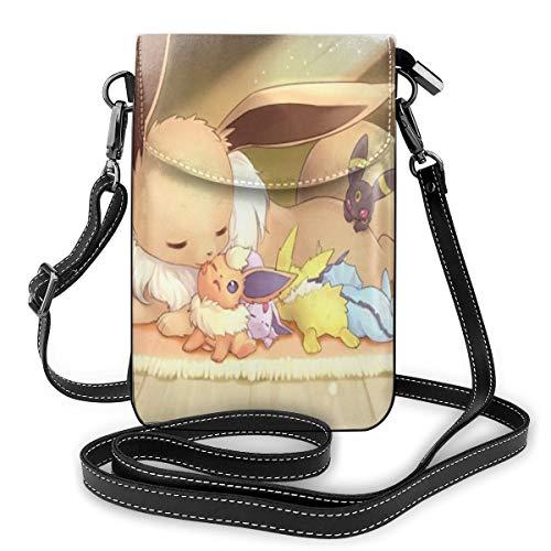 Cartoon Eevee Lightweight Small Crossbody Bags Leather Cell Phone Purses...