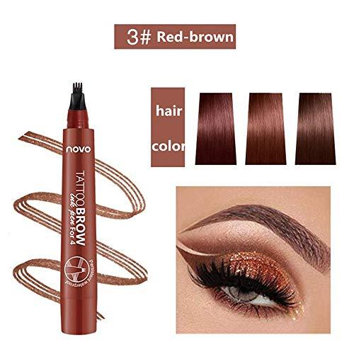 Tattoo Eyebrow Pen Wasserfester Tintengel-Farbton mit vier Spitzen, langanhaltendes wischfestes natürliches Haar wie definierte Brauen den ganzen Tag(Rotbraun)