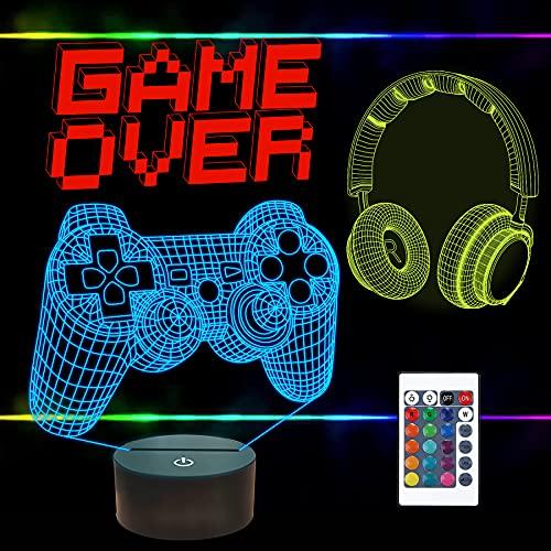 FULLOSUN Pixel Game Over Illusion Lamp, Gamepad 3D Night Light (3 modelli) con telecomando a 16 colori che cambiano la stanza da gioco, decorazione migliore per giocatore