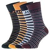 JACK & JONES - Juego de 4 calcetines, color azul oscuro con rayas Dunkelblau mit Streifen 41/46 ES