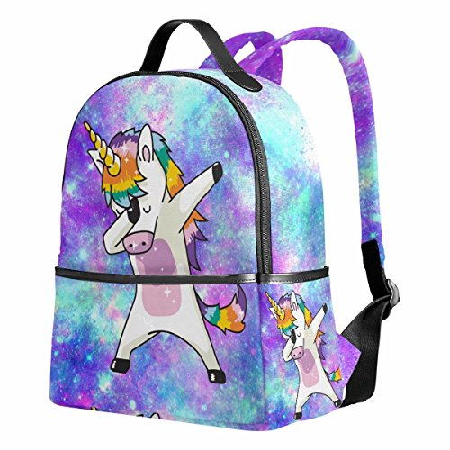 Unicorn Backpack for Girls Galaxy Cute Dab Bookbags Funny Elementary School Bags Canvas 12.6'x 5' x 14.8' for 1th-2th 3th Grade Girls Kids Boys
