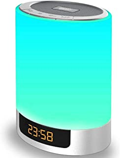 Night Lights Wireless Speaker Poebell Touch Sensor Bedside Lamp Dimmable Warm Light & Color Changing MP3 Music Player, Bluetooth Speaker with Lights for Party, Bedroom Outdoor (Updated Version)