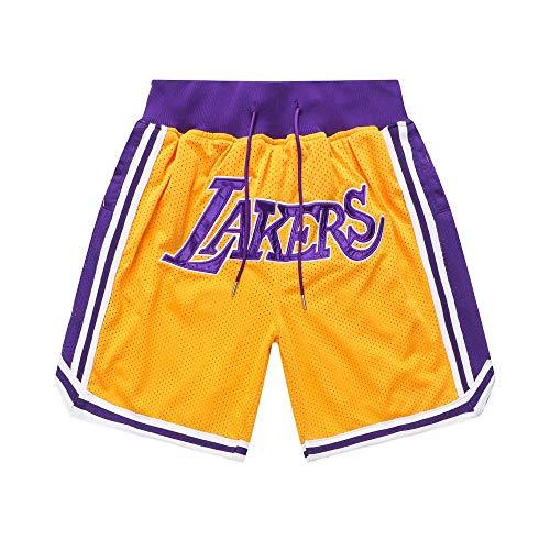 Generics Herren Basketball Shorts # 23 Lebron James, Los Angeles Lakers Retro Basketball Shorts, Stickerei, Schnelltrocknend, Double Fabric, Atmungsaktive Casual Shorts-XL