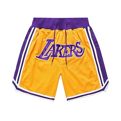 Generics Herren Basketball Shorts # 23 Lebron James, Los Angeles Lakers Retro Basketball Shorts, Stickerei, Schnelltrocknend, Double Fabric, Atmungsaktive Casual Shorts-XL