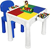 Building Blocks Table for Kids 7 in 1 Multi Toddler Activity Table Set with Chair & 2 Hanging Storage Shelves Compatible with Building Bricks