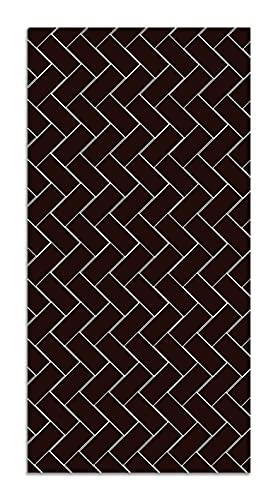 Panorama Alfombra Vinílica Mosaico Ladrillos Negro 60x200 cm - Alfombra Cocina Vinilo - Alfombra Salón Antideslizante e Ignífuga - Alfombras Grandes - Alfombras PVC