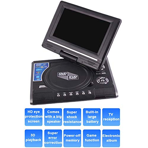 """MAYWU 2020 Upgrade 7.8"""" Portable DVD Player with 7.8 inches 270° Swivel Screen, Support USB/SD Slot, Direct Play in Formats AVI/MP3/JPEG/RMVB, Best Gift for Kids"""