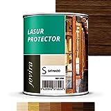 LASUR PROTECTOR SATINADO EXTERIOR Protege la madera,Baniz lasur satinado decora y embellece todo tipo de madera (750 ml, NOGAL)