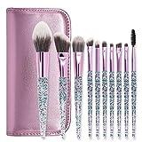 Hermosa Nuevo cristal 10 pincel de maquillaje manija de la PU de cristal bolsa de lentejuelas de seda arena sistema de cepillo del maquillaje Para mujeres (Color : C)