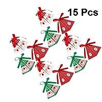 Cabilock クリスマスキャンディーボックスギフトトリートボックスサンタギフトボックスリボン付きクリスマスウェディングキャンディーギフトパッケージホリデーパーティー用品15ピース