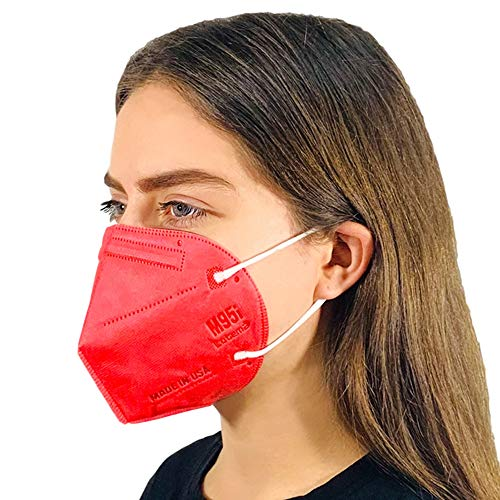 M95i Disposable 5-Layer Efficiency Protective Adult Face Mask 5-Ply Design Made in USA (5, Ruby Red)