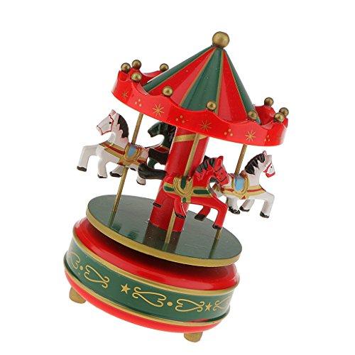 Boîte à Musique Carrousel Manège Bois Rainbow Décoration Cadeau Jouet Musical pr Enfant (10 Styles) - Rouge et Vert, L