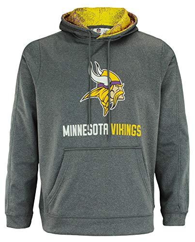 Zubaz NFL Minnesota Vikings Men's Heather Grey Performance Fleece Hoodie Size Large