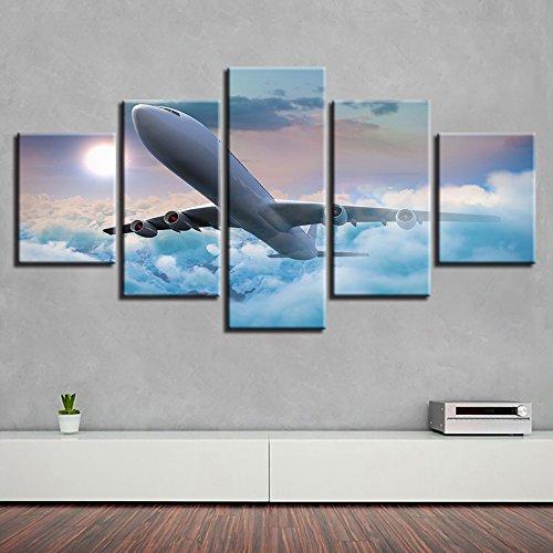 Segeltuch HD-Drucke Gemälde 5 Panel Flugzeug Poster Zum Wohnzimmer Wohnkultur Wandkunst,A,40×60×2+40×80×2+40×100×1