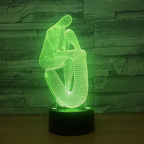 Lámpara de ilusión 3D Luz de noche LED Arte del cuerpo humano 7 Cambio de color Ambiente USB Lámpara de mesa táctil Decoraciones para el hogar Los mejores regalos de vacaciones de cumpleaños para