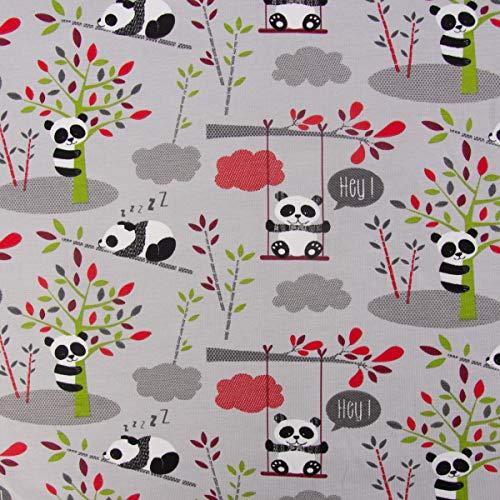 Mooi leven. Katoenen jersey jersey pandas-schommel bomen grijs groen rood 1,65 m breedte