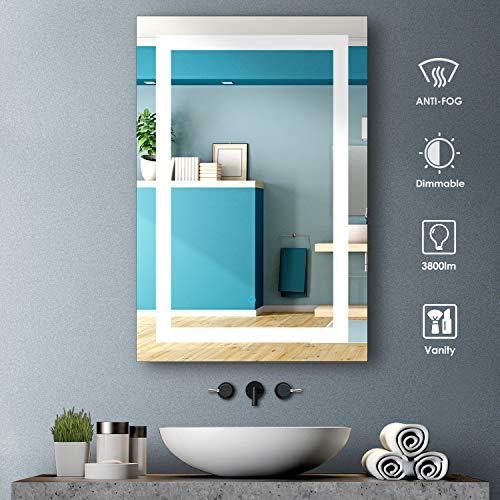 Plushom 24 x 36 Inch Lighted Bathroom Vanity Mirror, Wall Mounted LED -