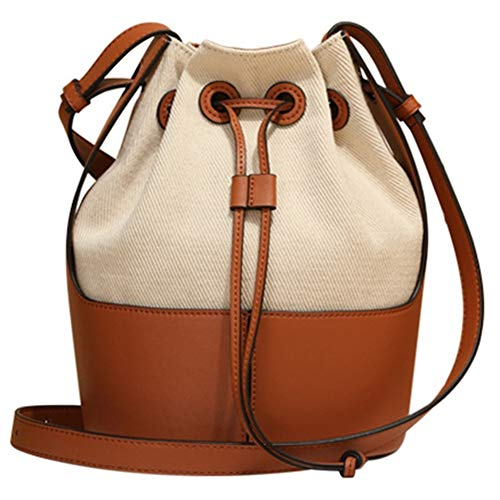 Sonline Leder Damen Beuteltasche Damen Handtasche Umh?Ngetasche Diebstahlsicherung Kordelzug Designer Damen Reisetasche-Karamell Farbe