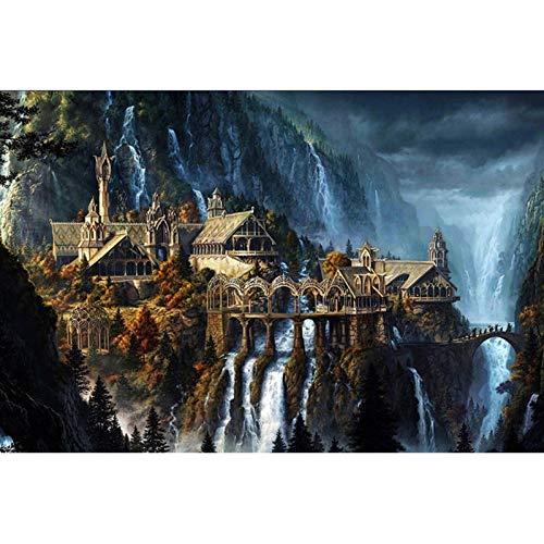 Wapipey 1000 Pezzi creatività Castello Aereo Puzzle in Legno Jigsaw Puzzle Fantasy Paesaggio for Halloween Regali di Compleanno Natale Adulti Adolescenti Puzzle Giocattoli 50x75cm