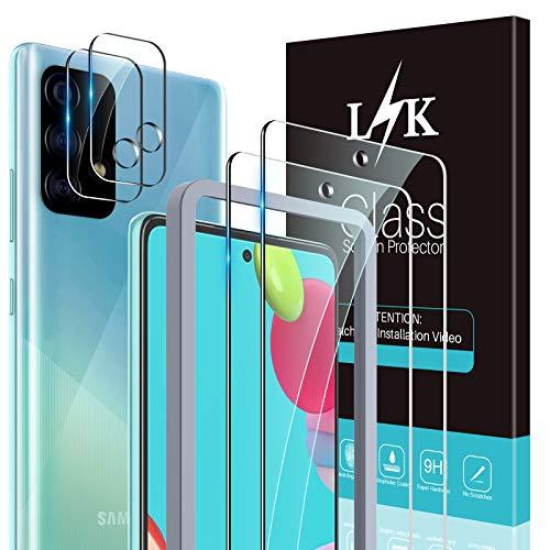 LϟK 4 Stück Schutzfolie Kompatibel mit Samsung Galaxy A52 4G 5G / A52s 5G Panzerglas mit 2 Stück Schutzfolie + 2 Stück Kamera Schutzfolie - 9H Festigkeit Folie HD Klar Gehärtetem Glas Bildschirmschutzfolie