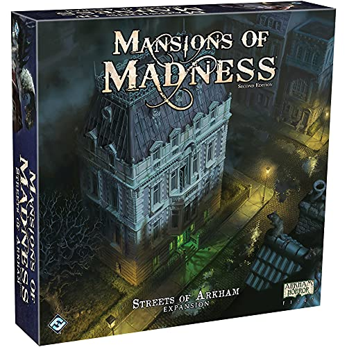 Mansions of Madness Streets of Arkham Board Game EXPANSION | Horror Game | Mystery Board Game for Teens and Adults | Ages 14+ | 1-5 Players | Average Playtime 2-3 Hours | Made by Fantasy Flight Games