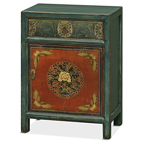 China Furniture Online Elmwood Tibetan Cabinet, Parvane Design Distressed Finish