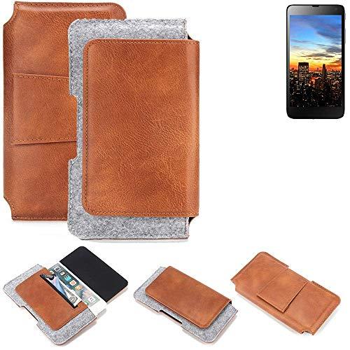 K-S-Trade® Schutz Hülle Für Hisense HS-U970E-8 Gürteltasche Gürtel Tasche Schutzhülle Handy Smartphone Tasche Handyhülle PU + Filz, Braun (1x)