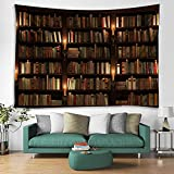 Old Bookshelf Candle Print Fabric Tapestry Decorative Wall Art Tablecloth Bedspread Picnic Blanket Beach Throw Blanket Multifunctional for Bedroom Hall Dormitory Living Room Hanging 79 x 59 inches