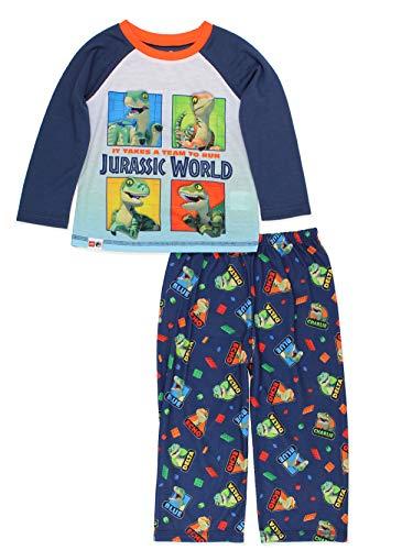 Lego Jurassic World Dinosaur Toddler Long Sleeve 2 piece Pajamas Set (5T, Navy)