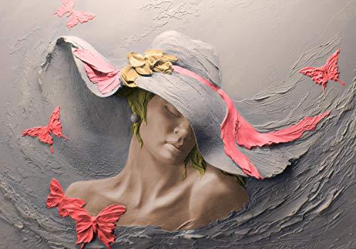 wandmotiv24 Fototapete Skulptur Frau rot Schmetterlinge Wand XL 350 x 245 cm - 7 Teile Fototapeten, Wandbild, Motivtapeten, Vlies-Tapeten Gips Hut Blume M5269