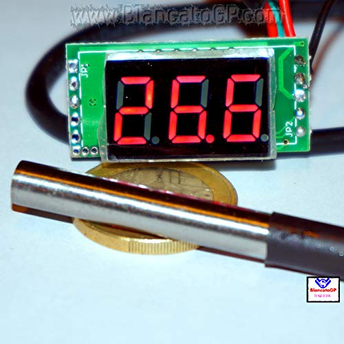 Mini-Thermometer, digital – 55 – 125 °C LED, Rot, DS18B20, wasserdicht, für Auto, Motorrad, Wohnmobile