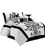 Chezmoi Collection Nobility 7-Piece White/Black Flocked Floral Comforter Set, Full