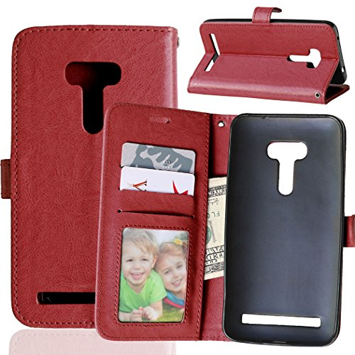 Fatcatparadise Kompatibel mit Asus ZenFone Selfie ZD551KL Hülle + Bildschirmschutz, Flip Wallet Hülle mit Kartenhalter & Magnetverschluss Halterung PU Leder Hülle handyhülle (Braun)