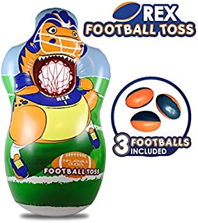J&A's Inflatable Dudes T-Rex Dinosaur Football Toss Target Bag 5 FEET | 3 Footballs Included | Kids Punching Bag | Inflatable Toy Game- Base is Already Filled with Sand for Wind Resistance!