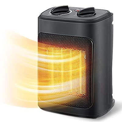 Space Heater, 1500W Electric Heaters Indoor Portable with Thermostat , PTC Fast Heating Ceramic Room Small Heater with Heating and Fan Modes for Bedroom, Office and Indoor Use