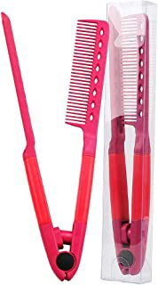 Straightening Hair Brush Flat Comb With A Firm Grip, Hair Straightener Comb For Knotty Hair Detangling Brush Hair Brush Comb (Red)