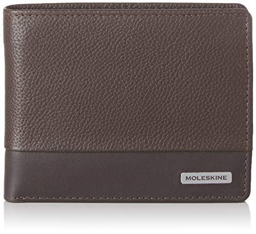 Moleskine - Cartera clásica de piel con bolsillo para monedas y 4 solapas para tarjetas de crédito y billetes, tamaño 13 x 3 x 11 cm, marrón