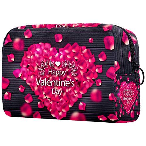 Neceser de Maquillaje Estuche Escolar para Cosméticos Bolsa de Aseo Grande Feliz Dia de San Valentin Amor Retro Madera Flor