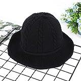 Photo de mlpnko Chapeau de pêcheur Sauvage Fil Chapeau épais Chapeau tricoté Femmes Mode Sauvage Noir réglable par